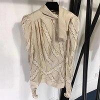 Блузка Для женщин Элегантный Стиль леди Блузка с длинными рукавами Топ 2018 Новый Осень кружевная блузка рубашка Повседневное