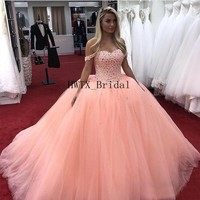 Coral Crystal Ball Gown Quinceanera Dresses 2019 Off The Shoulder Prom Dress Corset Tulle Sweet 16 Dress Vestidos 15 Anos Cheap