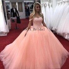 ee2a57bbde5 Coral de cristal vestido de Quinceanera Vestidos 2019 del hombro vestido  corsé de tul dulce 16 vestido Vestidos de 15 años barat.