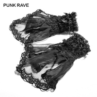 PUNK RAVE Lolita Style Black Sexy Lace Gloves Fashion Accessories Dinner Party Cute Bowknot Women Gloves One Pair