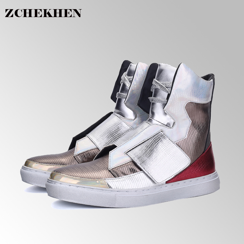 Luxury Brand Design Hip-hop Dancing Cool Laser Mixed Color Shoes Fashion Boots High Top Trainers Justin Kanye West Boots #63 ripped jeans for men skinny distressed slim famous brand designer biker hip hop swag tyga white black jeans kanye west
