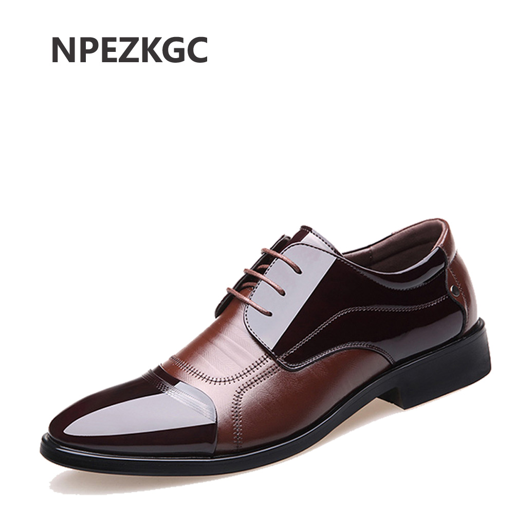 NPEZKGC Fashion Genuine Leather Men Oxford Shoes Lace Up Casual Business Men Shoes Brand Men Wedding