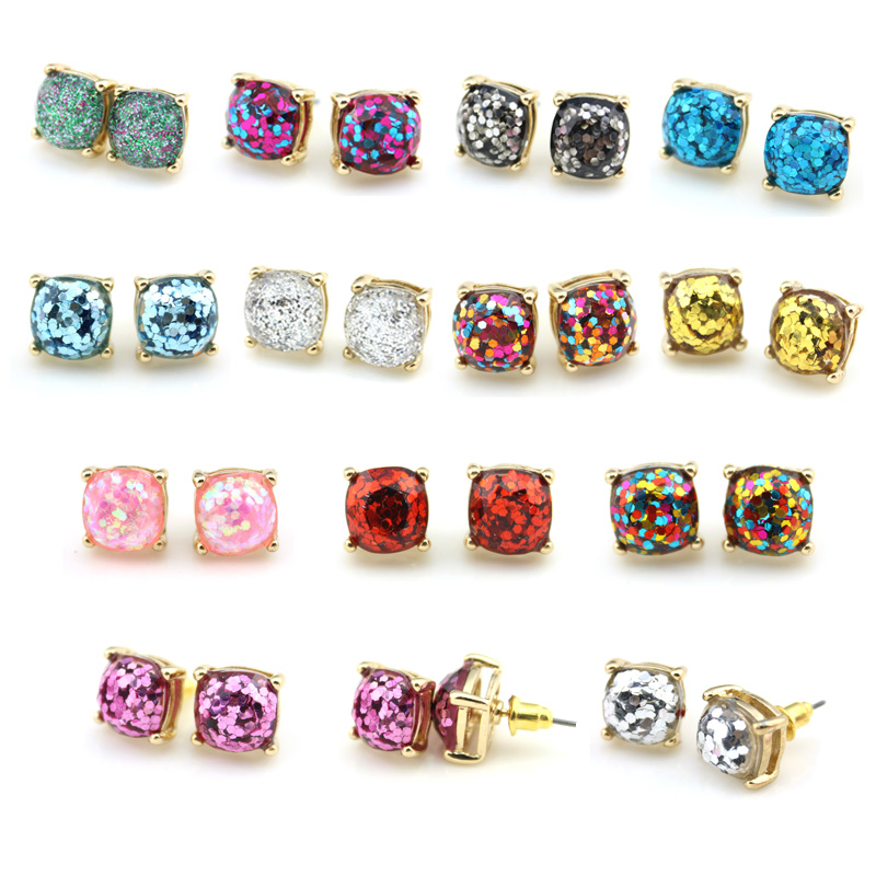 2016 Glitter Stud Earrings Women Jewelry Gold Kate New York Small Square Earrings Obsessed Party Earrings 14 Colors Option
