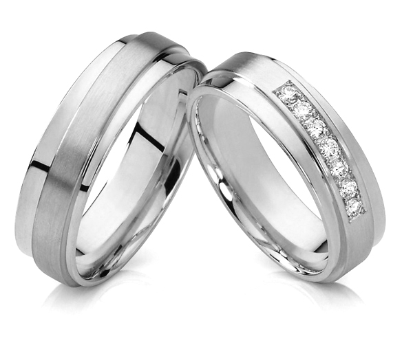 1 Pair 2015 Unique Design Silver White Gold Color Titanium Jewelry His And Hers Wedding Bands