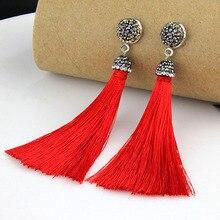 2017New Crystal Silk Tassel Earrings Very Beautiful High Quality Long Drop tassel Dangle Earrings Women Trendy Jewelery