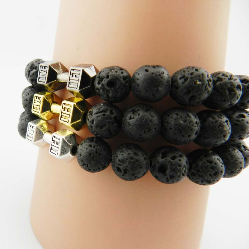 Dumbell Retail Mens Gift New Arrival Alloy Metal Barbell & Lava Rock Stone Beads Fitness Fashion Dumbbell Bracelets