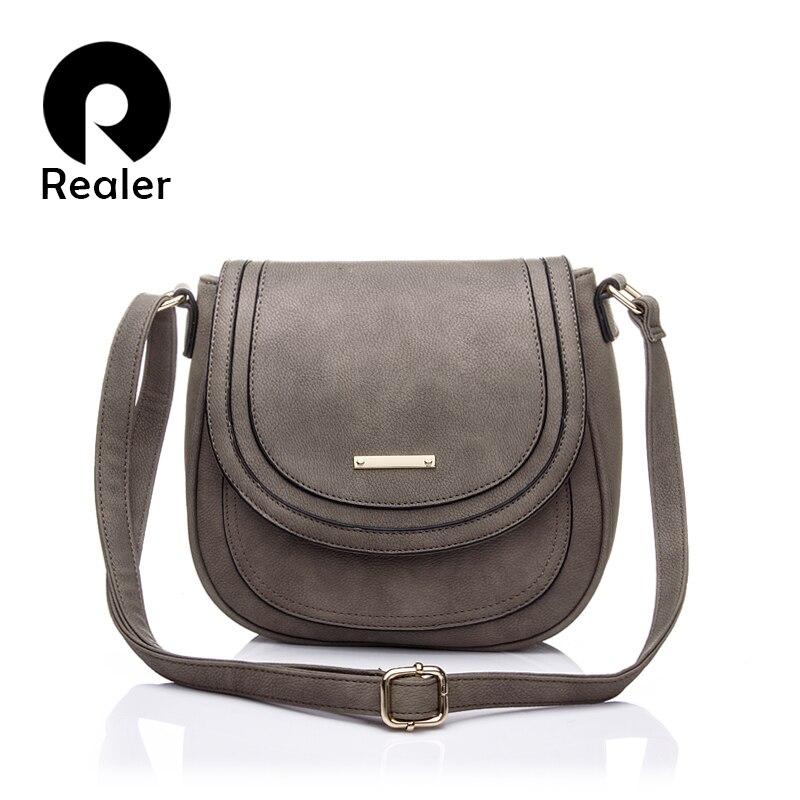 REALER women shoulder bags ladies solid messenger bag female small handbag artificial leather small saddle crossbody bag purse