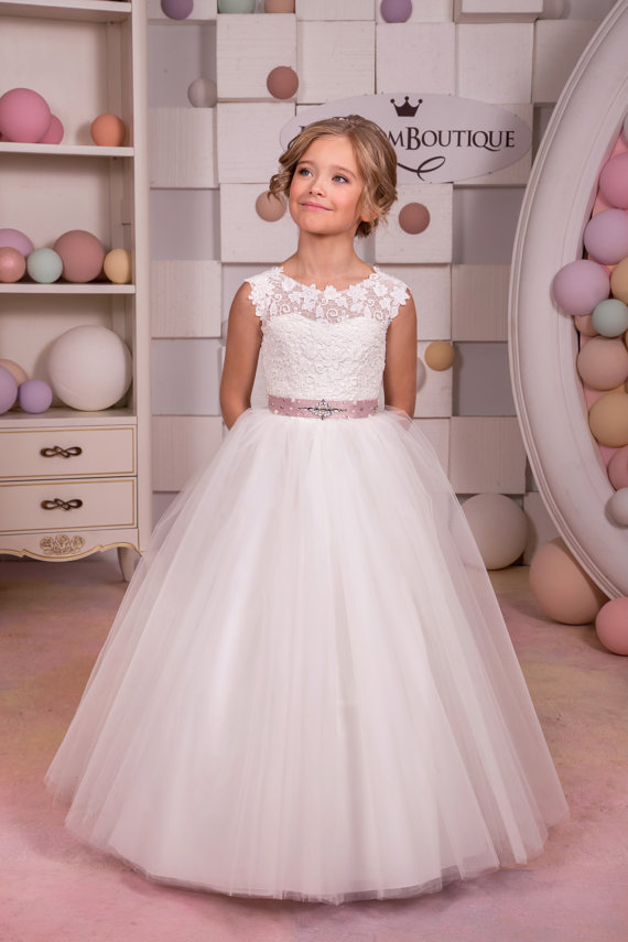Sleeveless Mother Daughter Dresses Lace Rustic Flower Girl Dress Ankle-Length Party Communion Dresses White Dresses for Girls цена и фото