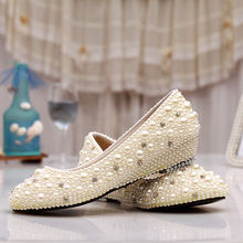 Pearl bridal shoes low heel round toe Wedges shoes crystal wedding shoes rhinestone party dress shoes free shipping