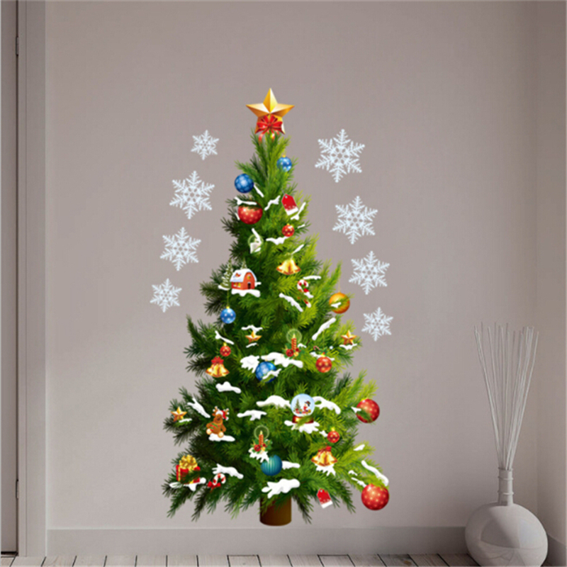 2019 New Christmas PVC Wall Stickers Large Christmas Tree Star Sticker Removable Decal Home Christmas Decor For Living Room