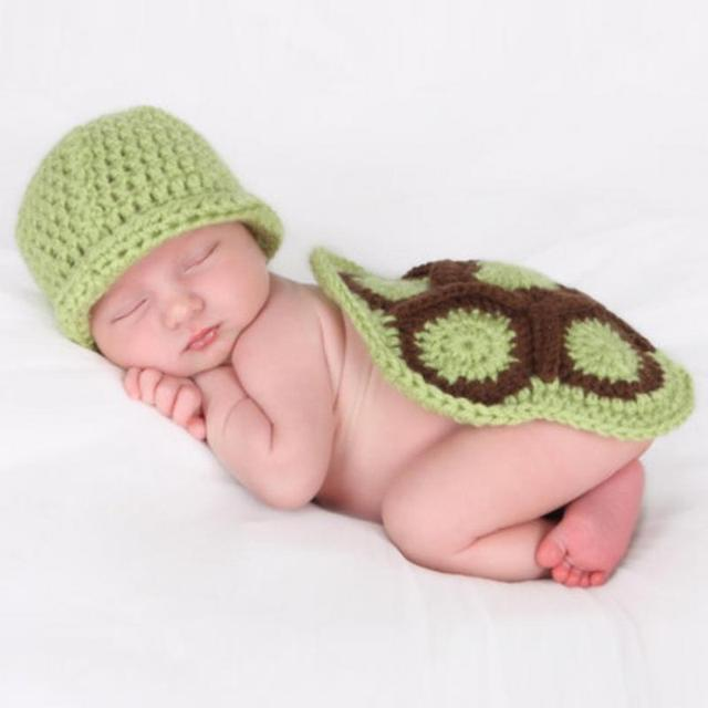 c415affaa Green Turtle Baby Hat with Cape Set Children Photography Props ...