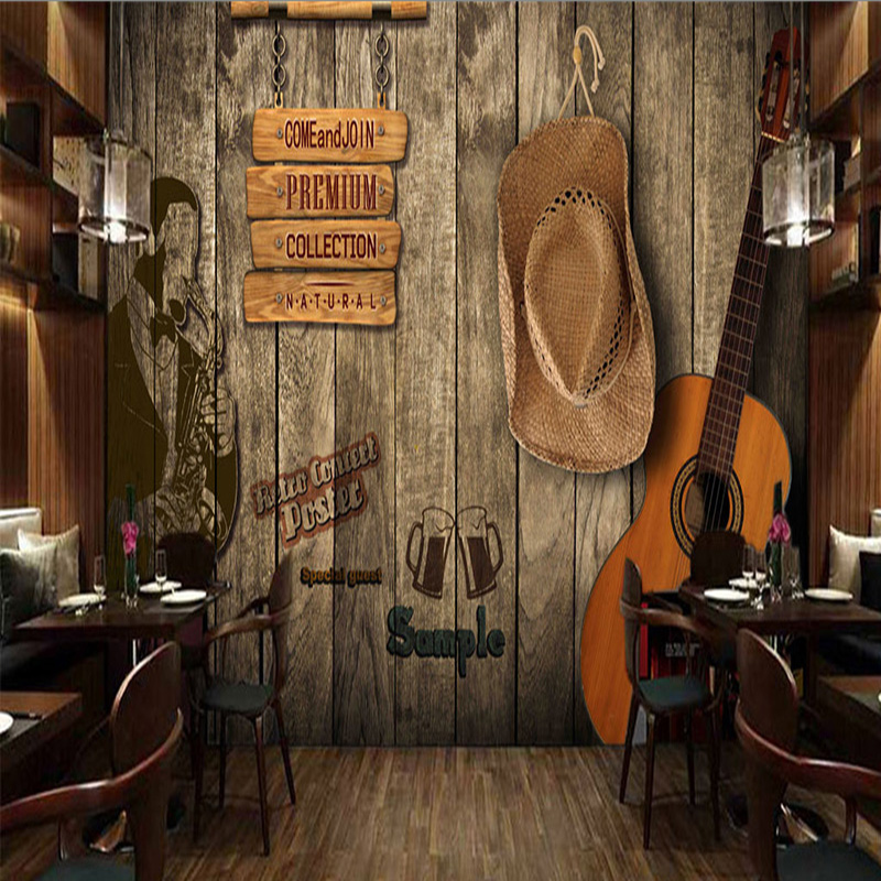 Custom Size Mural Wallpaper Bar KTV Retro Wood Personalized Background Wall  Mural Papel De Parede Home