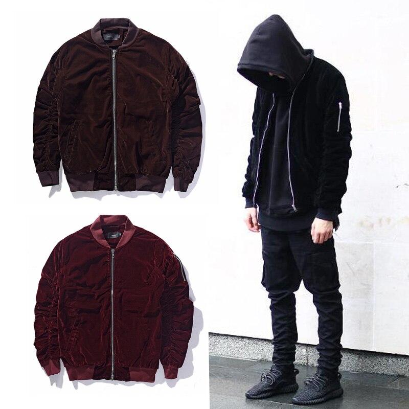 New fashion jacket winter casual jacket men coat Wine Red Velvet Fabric Pleated Sleeve Designer Jacket M-XXL