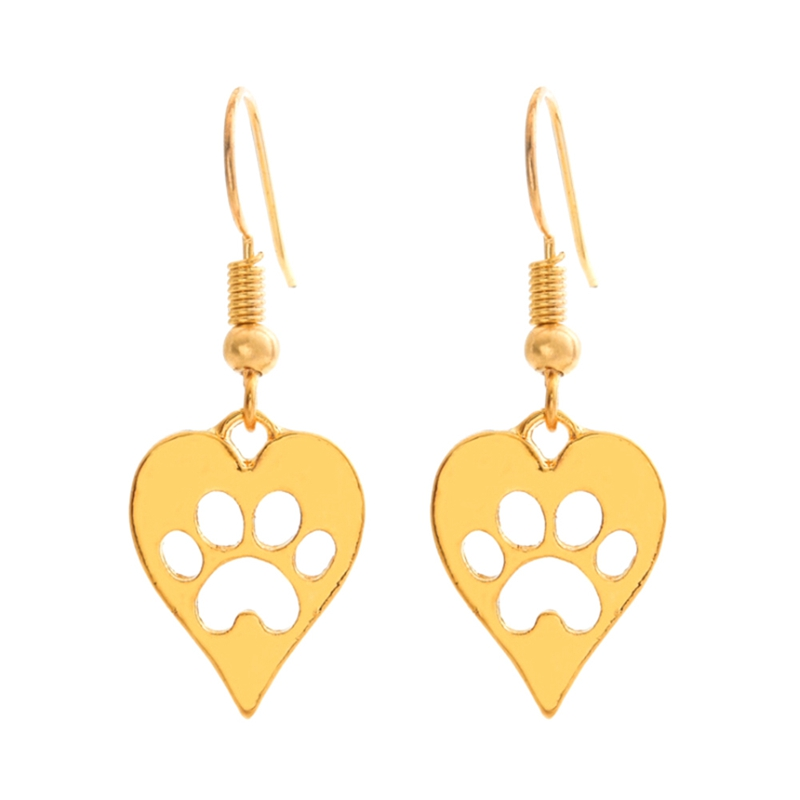 Silver Gold color Heart-shaped Paws Print Pendant Charms Jewelry Dog Cat Pet Earring For Women Best Special Gift For Women Girls
