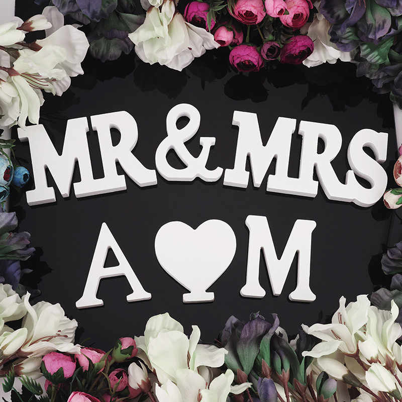 Wood Mr Mrs Love Alphabet Wooden Letter For Wedding Home Decor Christmas Decoration Party DIY Birthday Accessory Supplies 62019