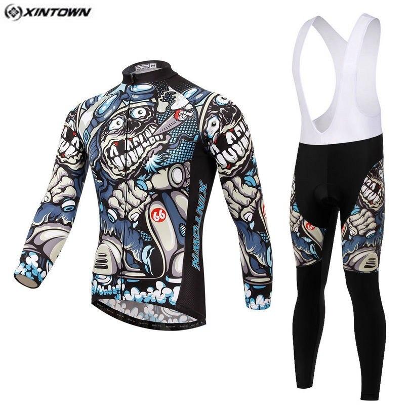 Hot XINTOWN Men Skull Gray MTB Bike jersey Bib Pants Sets Cartoon Pro Team Cycling clothing Riding Wear Long Sleeve Shirts