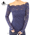WomensDate 2017 Spring New Wome Sexy Long Sleeve Slim With Invisible Zipper Slash Neck Lace T-Shirt
