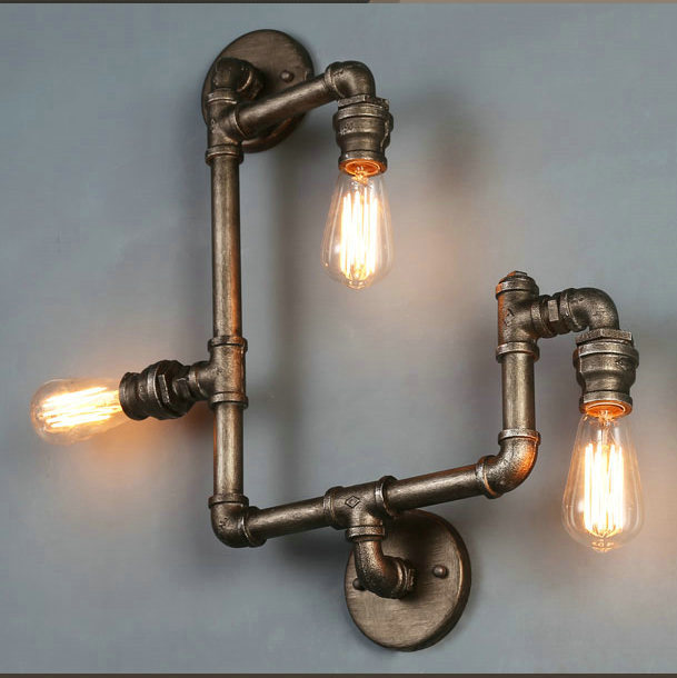 American Village Loft Industrial Edison Style Vintage Wall Light Lamp Retro Water Pipe Lamp Wall Sconce Free Shipping american rustic loft style vintage industrial wall light lamp retro water pipe lamp edison wall sconce