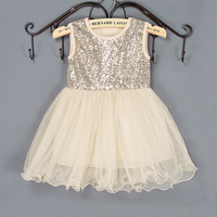 Cute Baby Ivory Summer Bling Chiffon Dress Girls Gold Sequin Top With Tulle Stitching Tutu Dress