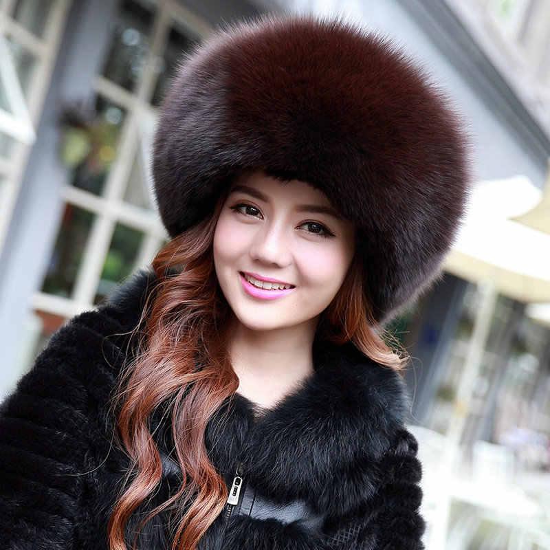 Gorro de inverno feminino 2020 chapéu de pele quente de luxo chapéus de pele de raposa real boina chapéus de pele inteira chapéu necessário rosa