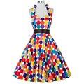 Mujeres del estilo del verano Audrey Hepburn vestido de gracia Karin colorful Polka Dot Vintage 1950 s Rockabilly de Pinup tea vestido 2016