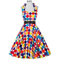 Summer style Women Audrey Hepburn dress Grace Karin colorful Polka Dot Vintage 1950s Rockabilly Swing Pinup tea dress 2016