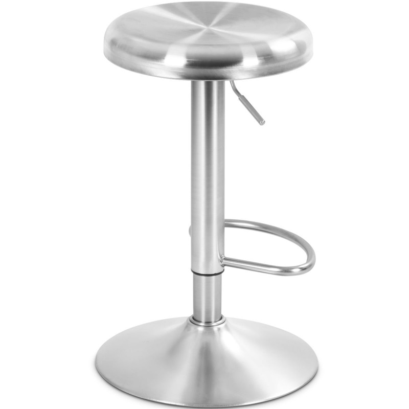 Brushed Stainless Steel Bar Stool Adjustable Height Round Top Modern Bar Chair HW58848