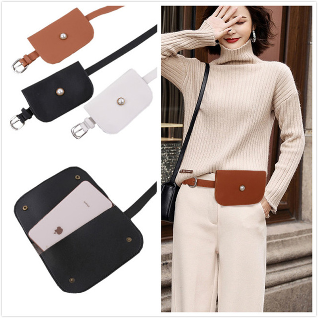 Fashion Women Waist Belt Fanny Pack With Removable Pearl Wallet Bag Wallet  Bag Key Case Ladies Leather Belt For Female Dress d8ac40f7d677