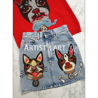 Svoryxiu 2018 Runway Custom Made Denim Half Skirt Women S Cartoon Dog Embroidery Summer A Line