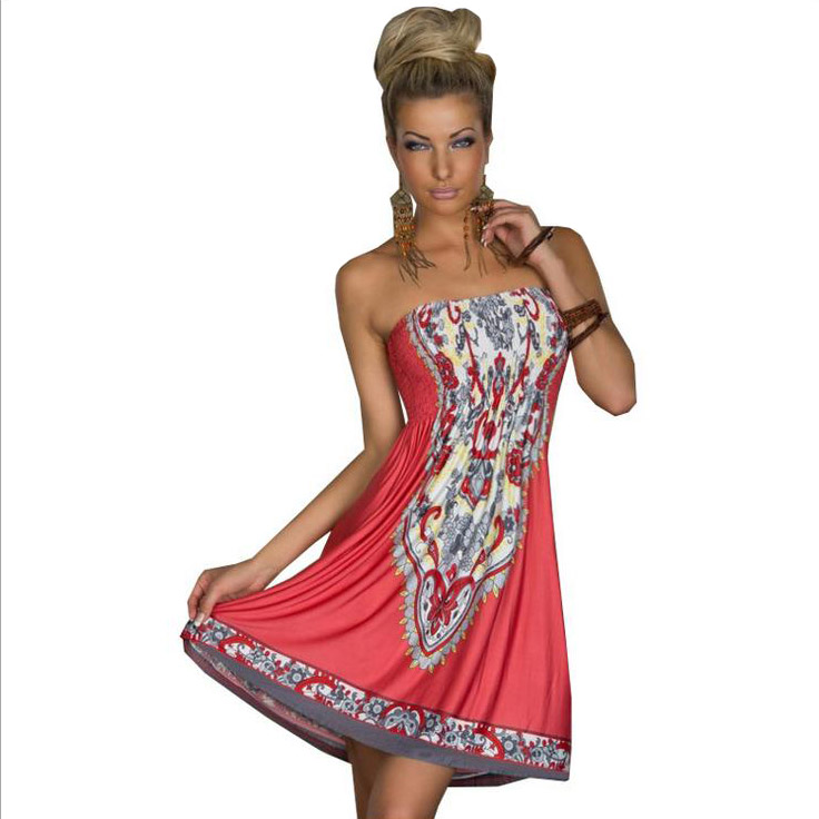 Bohemian Summer Dress Women Sexy Ice Silk Dress Indian Style Totem Boho  Large Size Wrapped Chest 012b409948a2