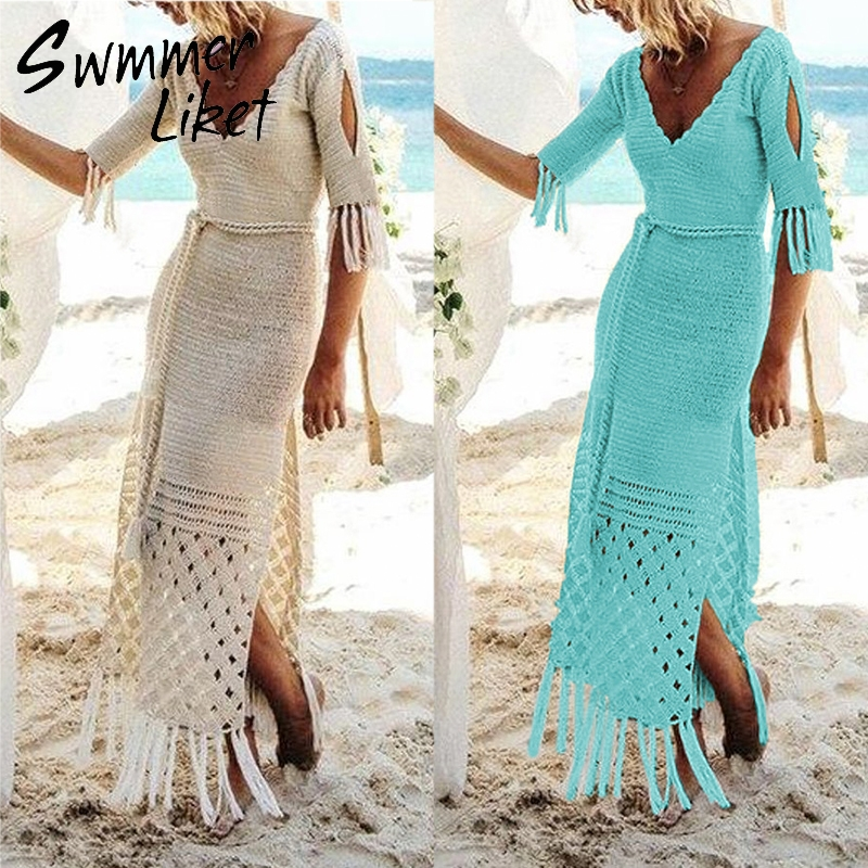 Long Pareos Bikinis Cover ups Swim Cover up Robe Plage swimwear women 2019 Crochet Tassel Beach Cover up Knitted Dress Tunic