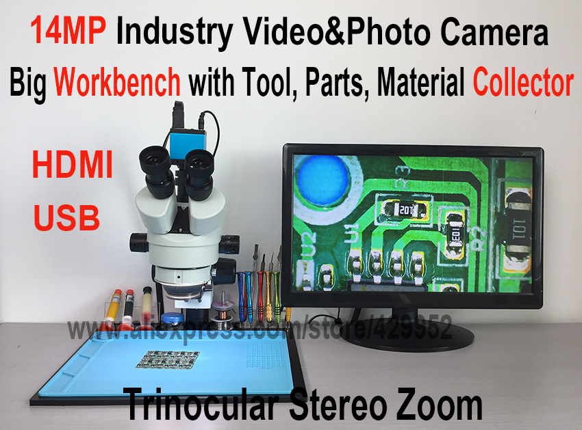 efix 14MP HDMI USB Camera Trinocular Stereo Continues Zoom 7-45X Microscope with Workbench for Fix Repair iPhone Tools Kits Sets lucky zoom 3 5x 45x double boon stand stereo zoom trinocular microscope szm0 5x wd165mm free shipping