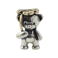 925 Sterling Silver & Bronze Lucky Clover Bear Charm Bead Fit Troll And Pan Bracelet Jewelry
