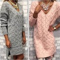 2016 New Women Sweater Dress Casual V-Neck Loose Crochet Knitted Pullover Plus Size Autumn Winter Outwear Sweaters Pull Femme