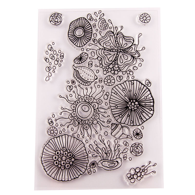 Aquatic Shell Clear Stamps for Scrapbooking DIY Silicone Seals Photo Album Embossing Folder Paper Maker Template Decor Crafts in Stamps from Home Garden