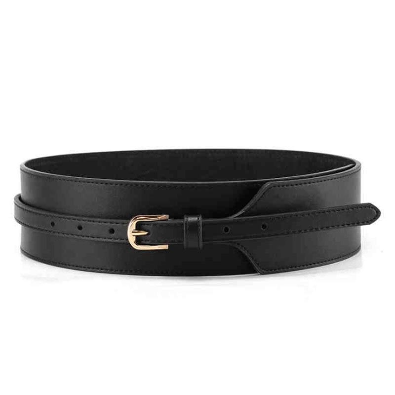 [AETRENDS] Luxury Europe Style Strap Pin Buckle Cinch Belt Wide Leather Cummerbunds Waistband Belts for Women D-0092