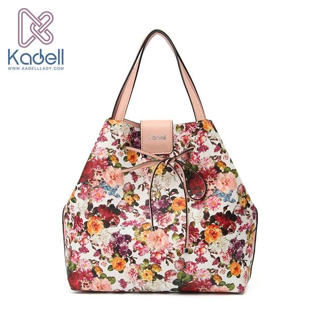 Kadell New 2017 Fashion Fresh Flower Women Shoulder Bags Luxury Handbags Designer Leather High Capacity Tote Vintage Bucket Bags
