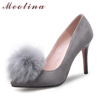 Meotina Women Shoes High Heels Pointed Toe Feather Pumps Ladies Sexy Party Shoes Stiletto Heel Designer