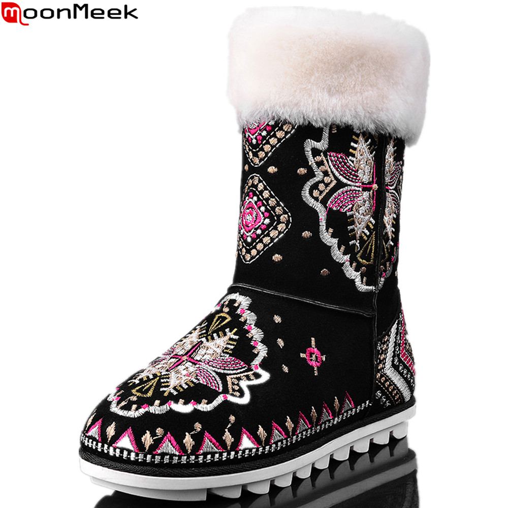 MoonMeek 2018 winter women boots black Keep warm cow suede ladies boots embroider snow boots ethnic style ankle boots suede ankle snow boots