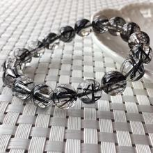 Genuine Natural Black Rutilated Quartz Crystal Clear Round Beads 11.2mm Wealthy Stone Bracelet For Women Men From Brazil AAAAA lii ji natural stone black onyx agate clear quartz crystal with jade clasp bracelet for women party