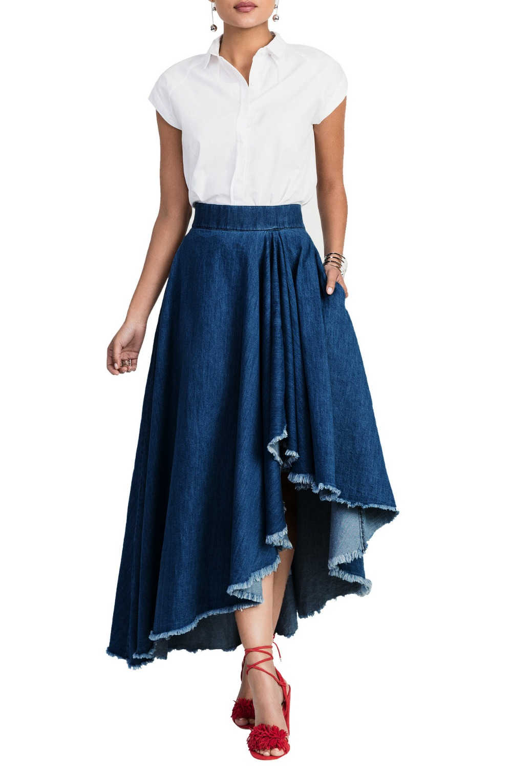 Maxi Skirt Blue Promotion-Shop for Promotional Maxi Skirt Blue on ...