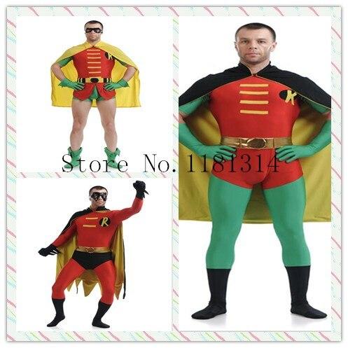 2017 Batman Robin Cosplay Costume homme Body Spandex Lycra Zentai complet corps peau serré Costume Halloween fête Body enfant adulte
