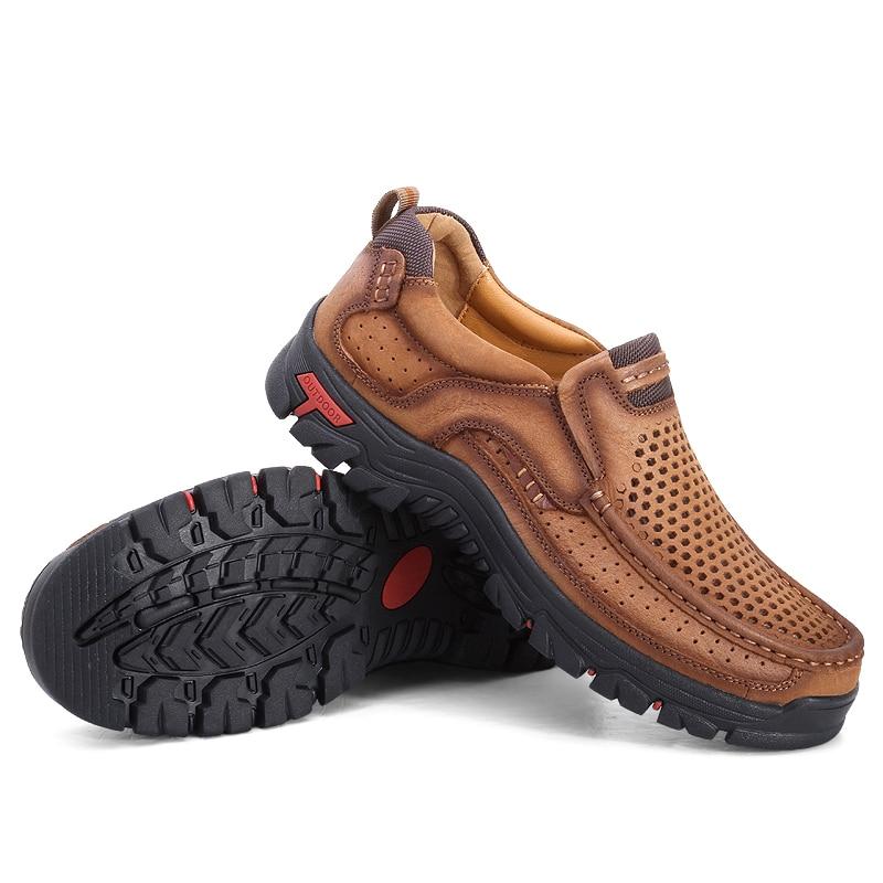Respirável Dos Brown Size Livre Em Do Couro khaki Sapatos Plus Caminhada Ao Alta Boots Qualidade Outono De Homens Botas Ankle Ar Genuíno Deslizamento aqZHR1