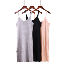 Ribbed OL summer sleeveless long knit dress women slim sexy knitted female split elegant lady straight bodycon