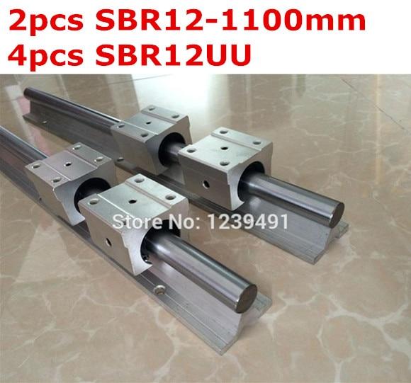 2pcs SBR12 - 1100mm linear guide + 4pcs SBR12UU block cnc router 2pcs sbr12 1500mm linear guide 4pcs sbr12uu block for cnc parts
