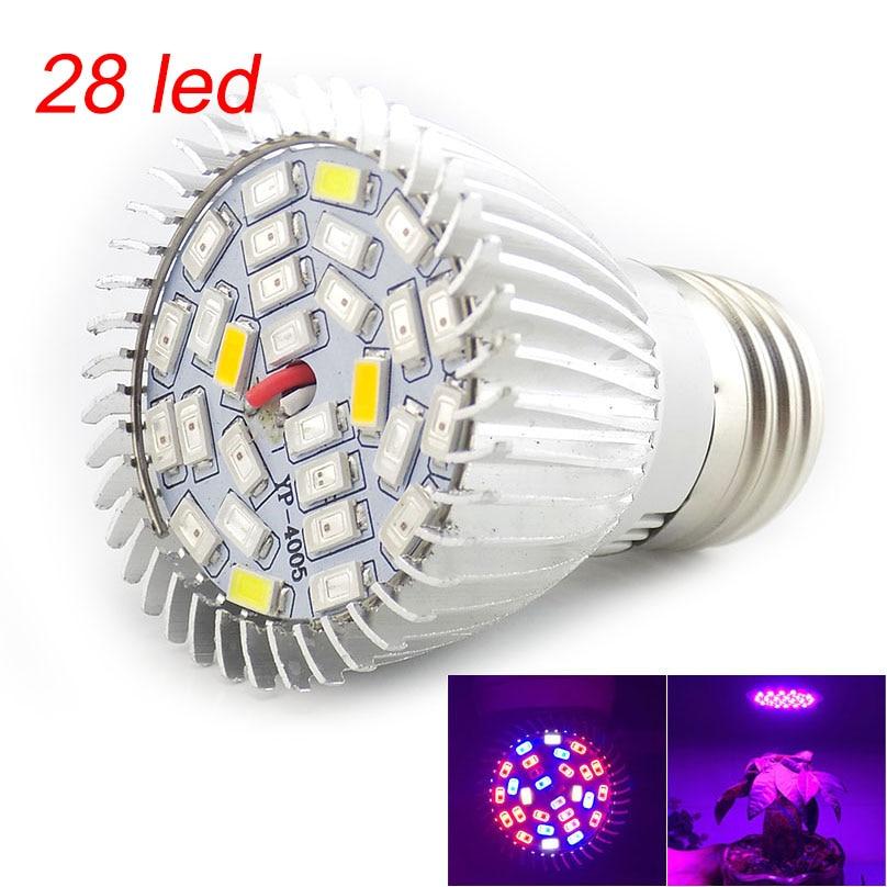 Полный спектр Светодиодная лампа для роста растений лампа светильник ing для семян гидро цветок теплица Veg Крытый сад E27 phyto growbox - Испускаемый цвет: 28 led