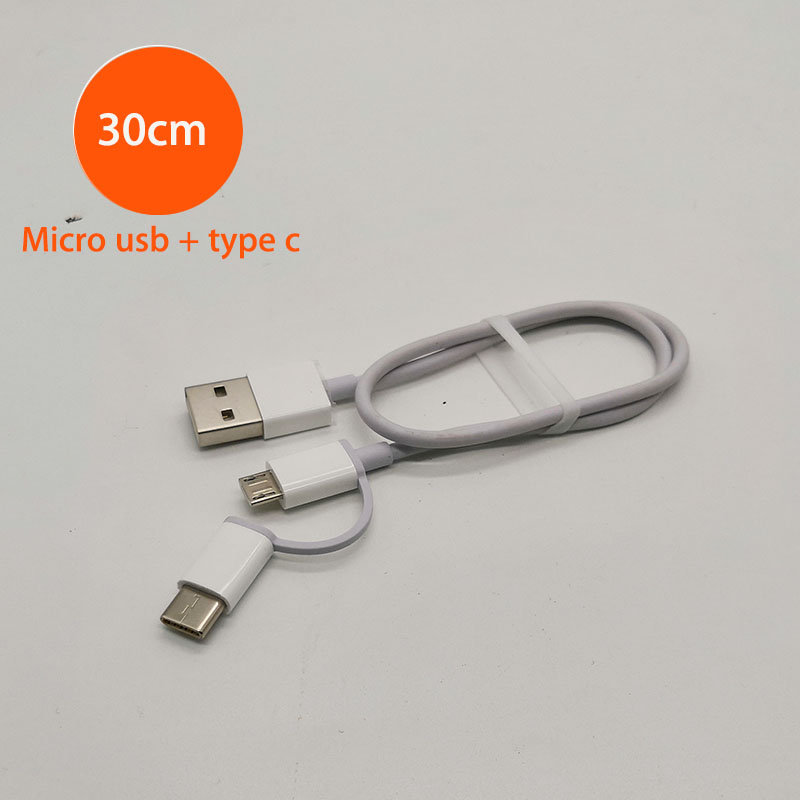 30cm original xiaomi 2 in 1 short cable power bank Micro USB type c for mi 9 8 6 lite pro max 3 2 a2 blackshark charging cabel-in Mobile Phone Cables from Cellphones & Telecommunications