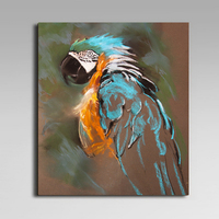 High Skills Artist 100 Hand Painted Parrot Painting On Canvas With Frame Handmade Abstract Painting For