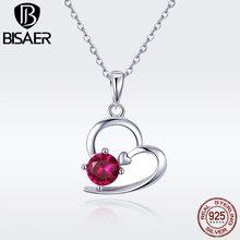 4dfa653637d6 BISAER Real 925 plata esterlina de boda corazón amor colgantes CZ Rosa  collares para las mujeres collares joyería de plata Colla.