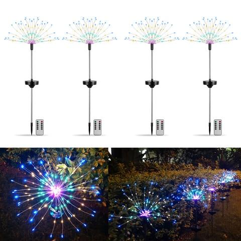 4 pacotes multicolorido led solar powered starburst luz de fogo de artificio jardim planta gramado